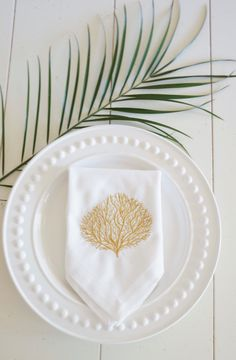 Coral Embroidered Dinner Napkins, perfect for entertaining, weddings or housewarming gifts! - FIND MORE HOME & BRIDAL LINENS BY CLICKING THE PHOTO ABOVE!