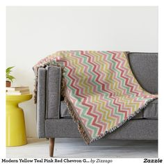 Shop Colorful Chevron Throw Blanket created by ChristyInOregon. Black Blanket, Geometric Throws, Red Chevron, Teal And Pink, Cozy Blankets, Poster Size Prints, Pillows, Modern, Colorful