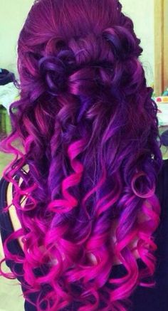 Purple pink dyed hair