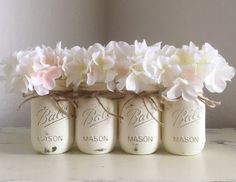 White / Cream Distressed Mason Jars, Rustic Nursery, Baby Shower Gift, Rustic Decor, Wedding Mason Jars, Painted Mason Jars, Shabby and Chic
