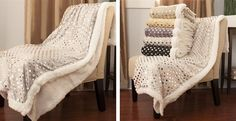 Stylish Super Soft Silver Polka Dot Sherpa Throw- One Size