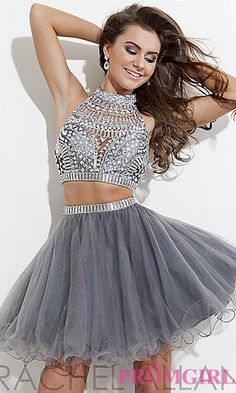 Rachel Allan Short Beaded Two Piece Dress  at PromGirl.com