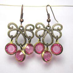 Chandelier øreringe med  krystaller - vælg mellem flere farver
