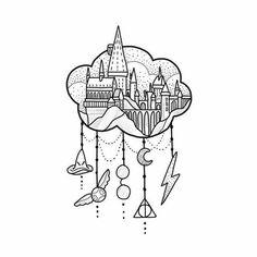 Hogwarts in der Luft. Juni Buchungen ⚡️⚡️⚡️ bitte E-Mail … - Tattoo Muster Harry Potter Tattoos, Arte Do Harry Potter, Harry Potter Drawings, Harry Potter Love, Harry Potter Stencils, Harry Potter Sketch, Harry Potter Journal, Harry Potter Symbols, Harry Potter Painting