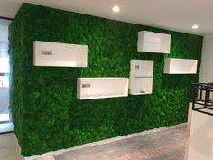 Moswanden voor het aankleden van winkel, werkt ook geluidsdempend Moss Fashion, Wall Lights, Lighting, Ideas, Home Decor, Appliques, Light Fixtures, Wall Fixtures, Lights