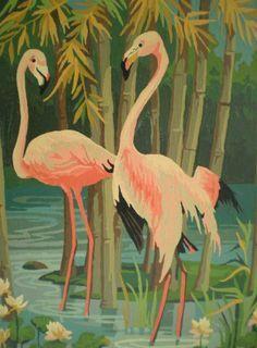 Vintage flamingo wallpaper