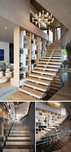 A bookshelf separates one living area from the wooden stairs, and an artistic wire cable detail acts as a safety rail.