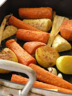 roasted parsnips, carrots, potatoes. with garlic and rosemary // simple and perfect for fall. a+
