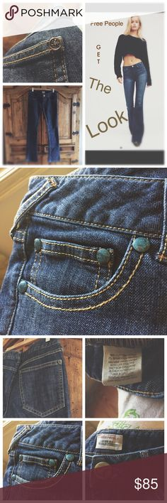 Free People Denim If you know me then you know I design, make jewelry , handbags & alter my clothing . All created using gently up cycled wares and materials. Irregularities add to the uniqueness of the vintage ware & sold as is. I collect vintage buttons , and I added a really cool one to the right back pocket & all the rivets have a  verdigris patina finish . Very cool!! NWOT model pic is for style reference only . I cannot model these . They do not fit me. Measurements upon request. Free…