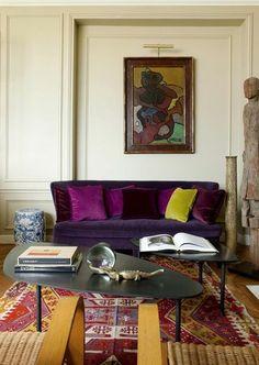 Purple velvet sofa!