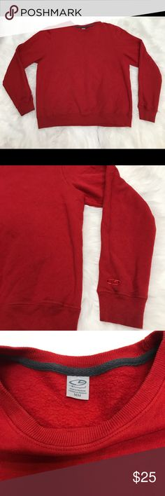 "Champion Red Sweatshirt Champion red, crew neck, pull over size medium sweatshirt. 80% Cotton, 30% Polyester. 19"" shoulder to shoulder, 24"" chest, 24 1/2"" length. Champion Tops Sweatshirts & Hoodies"