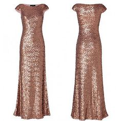 Long sequin rose Gold Wedding Bridesmaid Prom Women Dress Party Evening Formal in Clothing, Shoes & Accessories,Wedding & Formal Occasion,Bridesmaids' & Formal Dresses   eBay
