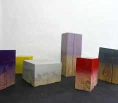 wood sprayed blocks