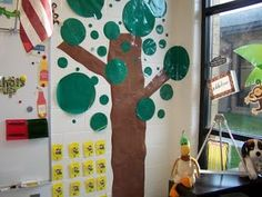 Got this idea from Pinterest!  It was an all clored polkadot tree so we tweaked it a bit!