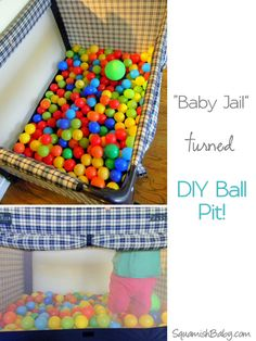 DIY Ball Pit ~ Great for rainy day fun & toddler birthday party activities! So easy and cheap!.....You can also use a toddlers inflatable pool. air it up add balls or sand.Little ones will enjoy it. It can also be a cooler add ice and sodas or anything that will need to be kept cool. cool.