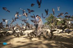 Boracay wedding. Amazing doves we found in Boracay. Love the 'movement' of the moment captured. Photo by Mayk Pericon