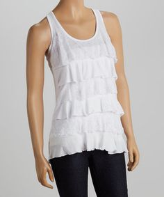 Another great find on #zulily! White Lace Ruffle Tank by Zenana #zulilyfinds