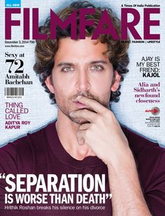 """As we all know superhero Hrithik Roshan is officially single now! The actor recently made headlines for his divorce with estranged wife Sussanne Khan. The features on the latest issue of Filmfare magazine, which reads """"Separation is worse than death"""" Bollywood Photos, Bollywood Actors, Bollywood Fashion, Hrithik Roshan, Patchy Beard, Sr K, Amitabh Bachchan, Perfect Man, Perfect Body"""