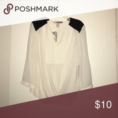 Black and white blouse. Sheer black and white blouse.  Perfect for work. Forever 21 Tops Blouses