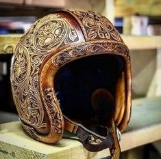 Hobbies For 7 Year Olds Refferal: 9285654204 Motorcycle Helmet Design, Custom Paint Motorcycle, Motorcycle Events, Motorcycle Tank, Leather Carving, Leather Art, Leather Tooling, Tooled Leather, Leather Bicycle