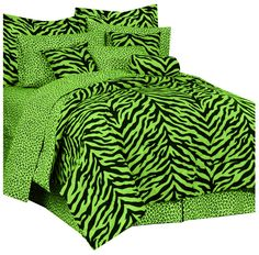 Karin Maki Zebra Complete Bedding Set, Full, Lime * Trust me, this is great! Click the image. (This is an amazon affiliate link. I may earn commission from it)