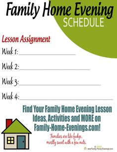 Family Home Evening-Free Ebook-Free Family Planner-FHE Lesson Schedule-- Sneak Peak page to our upcoming Ultimate Family Planner!