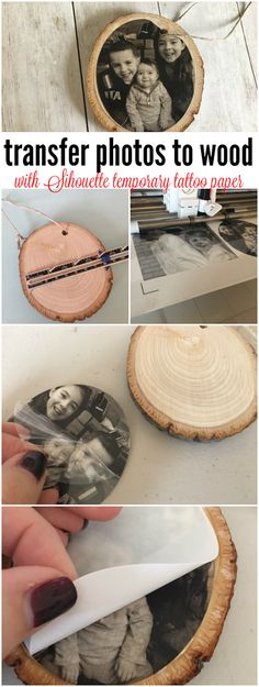 Transferring Photos to Wood with Silhouette Temporary Tattoo Paper - DIY Tattoo vorübergehend Silhouette Tattoos, Silhouette Vinyl, Silhouette Studio, Small Woodworking Projects, Woodworking Furniture, Photo Ornaments, Wood Ornaments, Diy Tattoo, Silhouette Cameo Tutorials