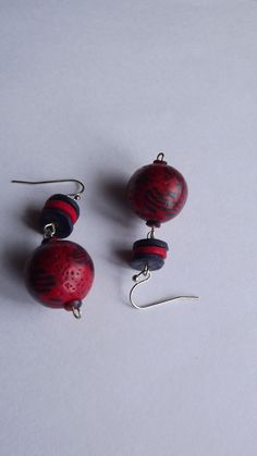 Items similar to Red and Navy Dangle Earrings from Polymer Clay Hollow Beads Earrings Pretty Earrings OOAK Jewelery Handmade Jewelery on Etsy Dangle Earrings, Polymer Clay, Dangles, Navy, Trending Outfits, Unique Jewelry, Handmade Gifts, Red, Vintage