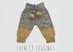 Hand knit baby leggings in a mustard yellow and grey tweed color combo. The Everett Leggings are knitted with a highly absorbent, durable and