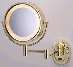 "SeeAll 8"" Polished Brass Finish Dual Sided Surround Light Wall Mount Makeup Mirror (Hardwired Model) - Amazon.com"