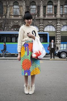 Susie Bubble gets the skirt + cable knit sweater combination quite right in my book. Quirky Fashion, Cool Street Fashion, Colorful Fashion, Love Fashion, Autumn Fashion, Street Style, Whimsical Fashion, Japanese Fashion, Asian Fashion