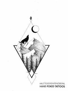 Fox Tattoo Design, Sketch Tattoo Design, Tattoo Sketches, Tattoo Drawings, Tattoo Designs, Triangle Tattoo Design, Geometric Tattoo Nature, Geometric Mountain Tattoo, Mountain Tattoo Design