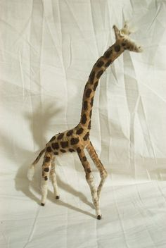 Vintage Style Spun Cotton Giraffe Christmas Ornament
