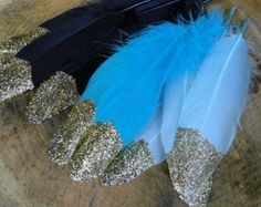 Glitter Gold Feathers - Boho Bridal Tribal Party