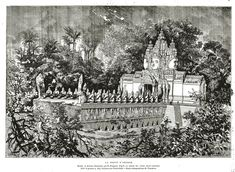 An engraving of the 1:10 scale model for the 1878 Paris exhibition, re-translated as model (!) to the imagined original Cambodian