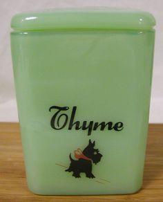 Jade Jadite Milk Green Glass Spice Pinch Jar w/ Scottie Scotty Dog - Thyme
