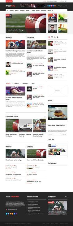 WowMag - Blog / Magazine / News Wordpress Theme #wordpressblog #blogtheme Live Preview and Download: http://ksioks.com/portfolio/wowmag-blog-magazine-news-wordpress-theme/
