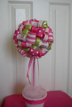 Ribbon Topiary in Pink Cupcake for baby shower by DaisyTags, $36.00