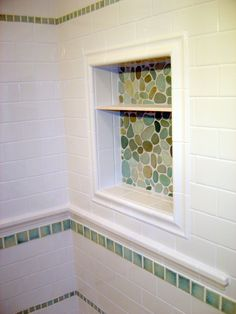 """Soap niche with river rock sheet tile, Dal 3""""x6"""" D100 white tile with white grout. jtholroyd@gmail.com"""