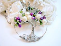 Tree of Life Pendant Freshwater Pearls Fire Polished Crystals - Sandy - can customize