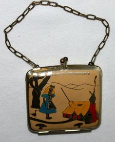 """RARE High Grade """"Alice in Wonderland""""Vintage Brass Plated Snap Close Coin Purse"""