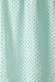Eyelet shower curtain - happy looking and old-fashioned in this mint color Laundry Room Bathroom, Bathroom Ideas, Waves Wallpaper, Layered Curtains, Primitive Bathrooms, Window Dressings, Teen Girl Bedrooms, Home Remodeling, Mint Green