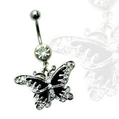 Butterfly Black Wings with Gems Dangle Belly Ring