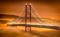 25 de Abril bridge of Lisbon by night, Portugal
