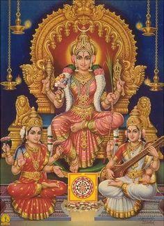 Goddess Shakti means Divine Power / Energy. There are many female deities in the Hinduism. Most popular Hindu Goddesses names are Parvati, Laxmi & Saraswati. Indian Goddess, Mother Goddess, Goddess Lakshmi, Durga Images, Lakshmi Images, Tanjore Painting, Mysore Painting, Shiva Shakti, Shiva Art