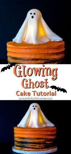 Glowing Ghost Cake Tutorial This Halloween go all out with this Glowing Ghost Cake. Its a real show stopper that looks hard to make but is surprisingly easy. Its really eye-catching and the kids will love it. And yes its really lit from within. Halloween Desserts, Halloween Torte, Pasteles Halloween, Bolo Halloween, Theme Halloween, Holidays Halloween, Halloween Treats, Halloween Birthday Cakes, Holloween Cake