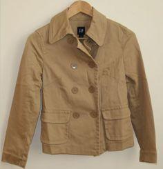 Woman's Lady's Fashion Designer Gap Beige Blazer Jacket Size 8