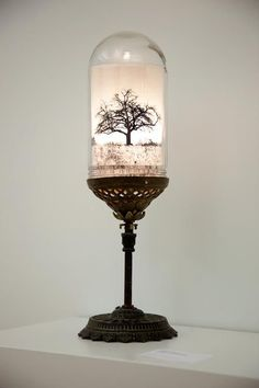A photograph of a bare tree floats, illuminated inside a reclaimed glass dome as if preserved in oil. Electric Charroin's take on the table top accent light brings a little steampunk with its brass and copper fixture cobbled together from found parts. Lamp, Decor, Creative Lighting, Glass, Copper Fixture, Glass Domes, Lamp Light, Lights, Light Fixtures
