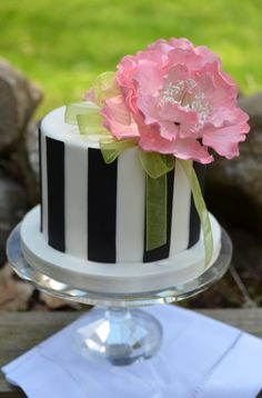 Flowers - Gumpaste peony on black and white vertical stripe cake.