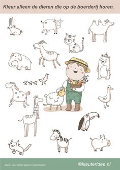 Only color the animals that belong on the farm, Miss Petra van Kleuteridee, col . Environmental Education, Kids Education, Farm Activities, Animal Crafts For Kids, Farm Theme, Cute Illustration, Animal Design, Pre School, Farm Animals